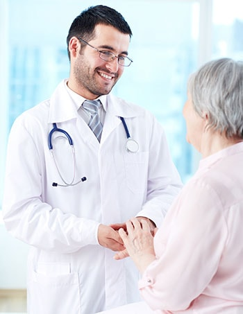 Patient consulting with podiatrist about bunion